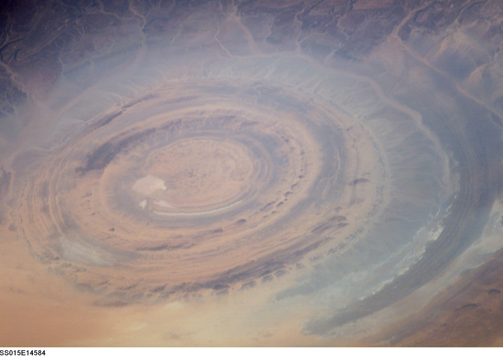 "Richat Structure ""Bulls eye"" by NASA, International Space Station"